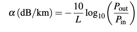 فرمول افت در فیبر نوری
